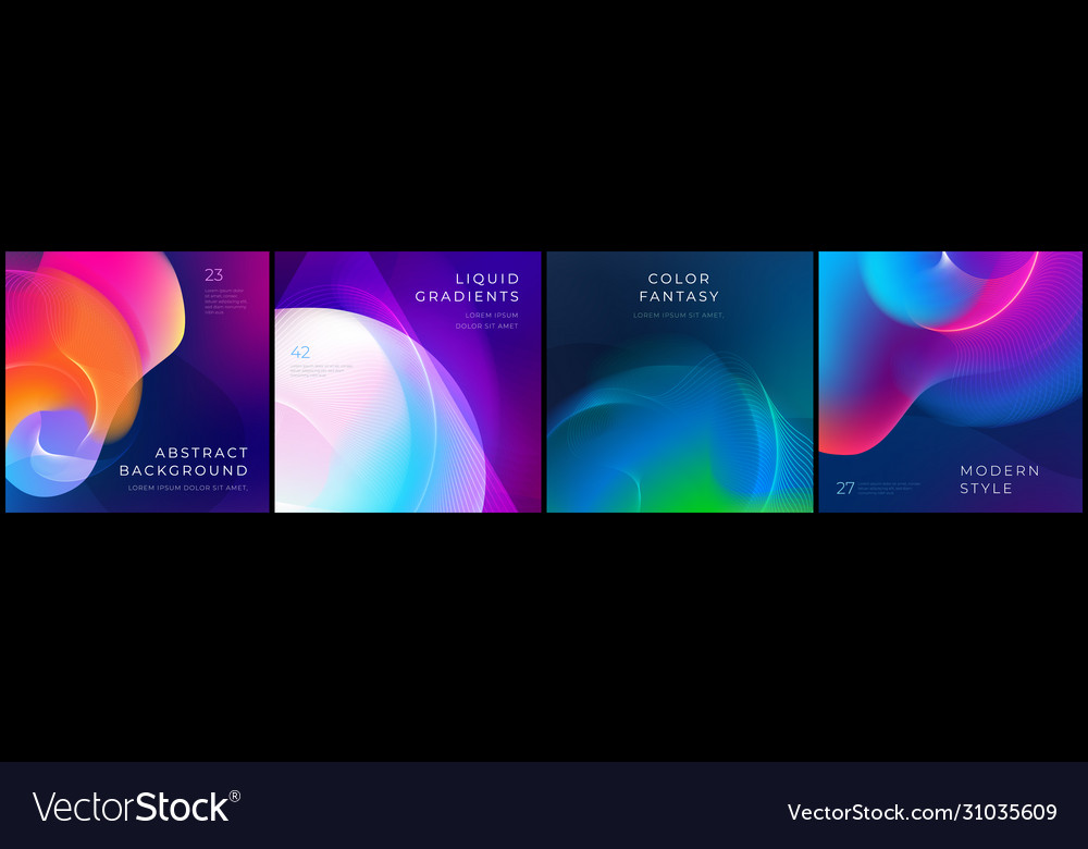 Set square liquid color abstract geometric