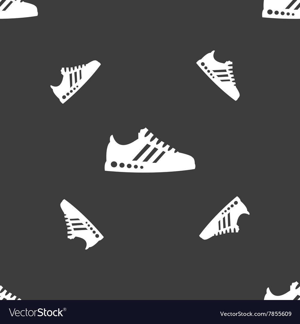 Sneakers icon sign Seamless pattern on a gray