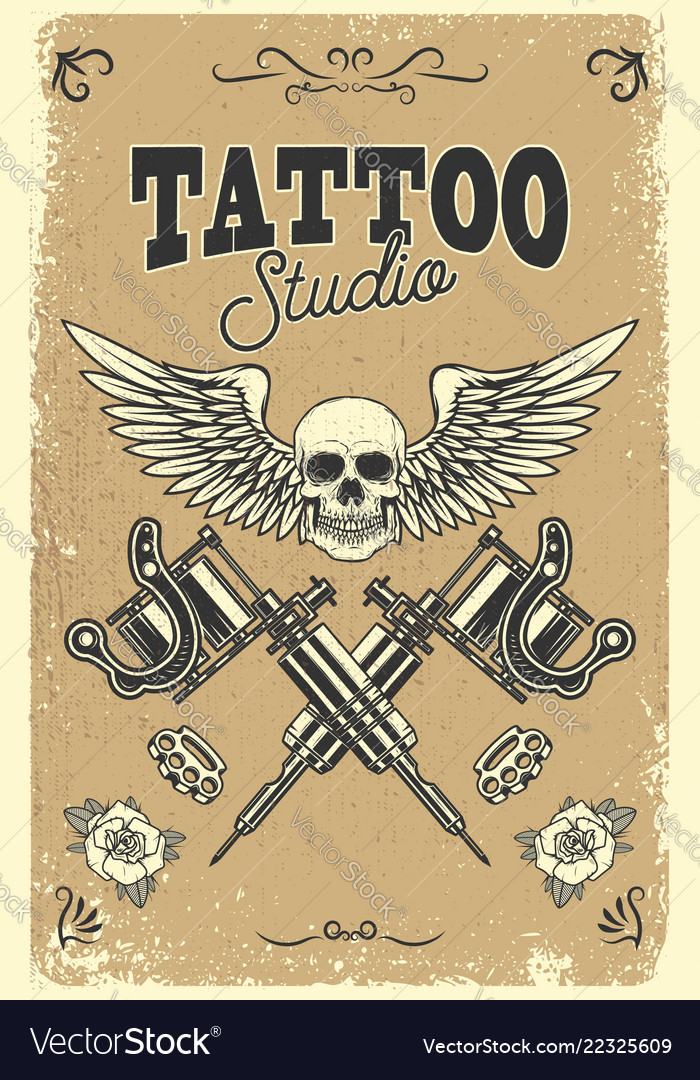 Tattoo studio poster template winged skull with vector image maxwellsz