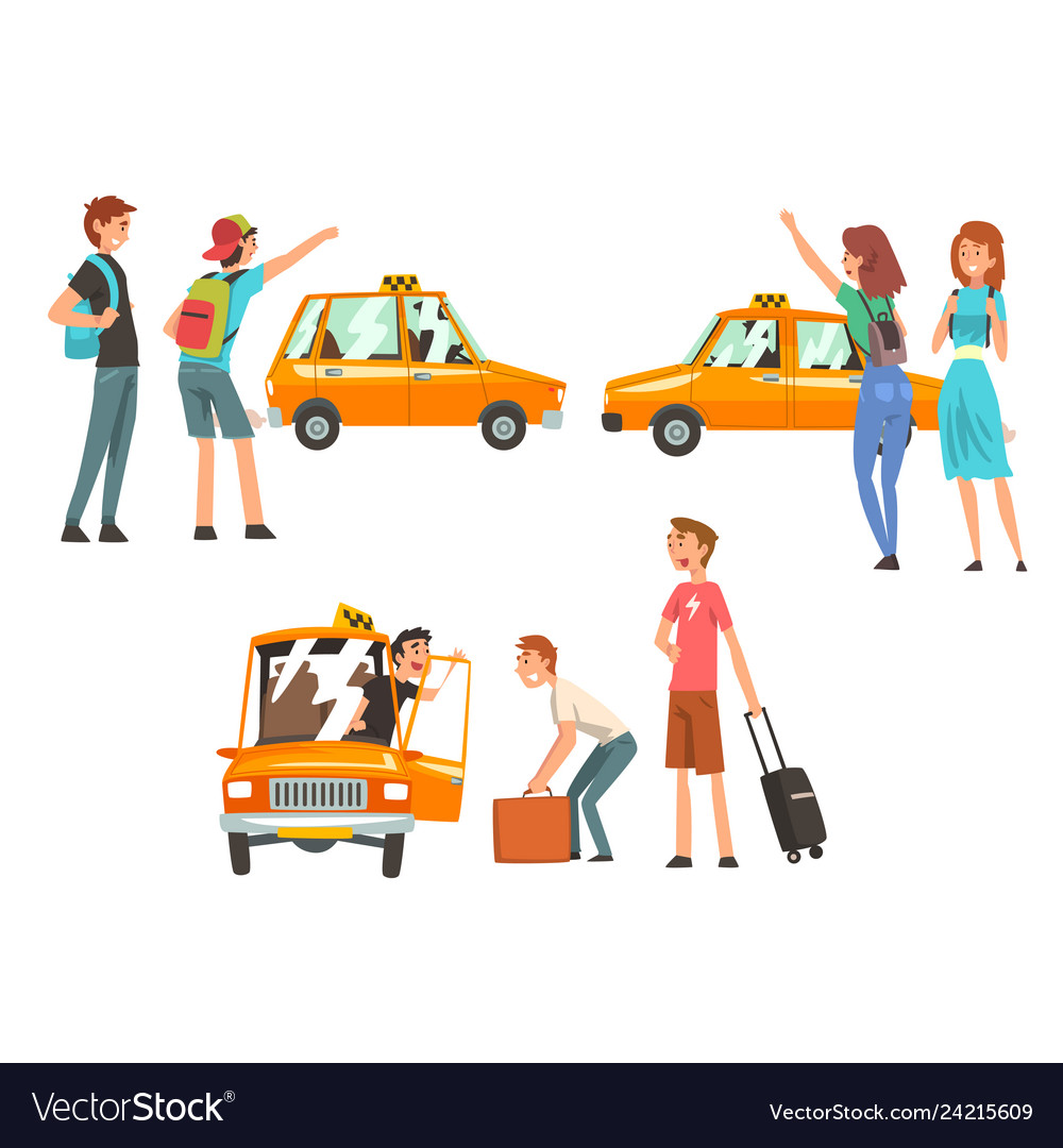 Taxi service set city transportation clients