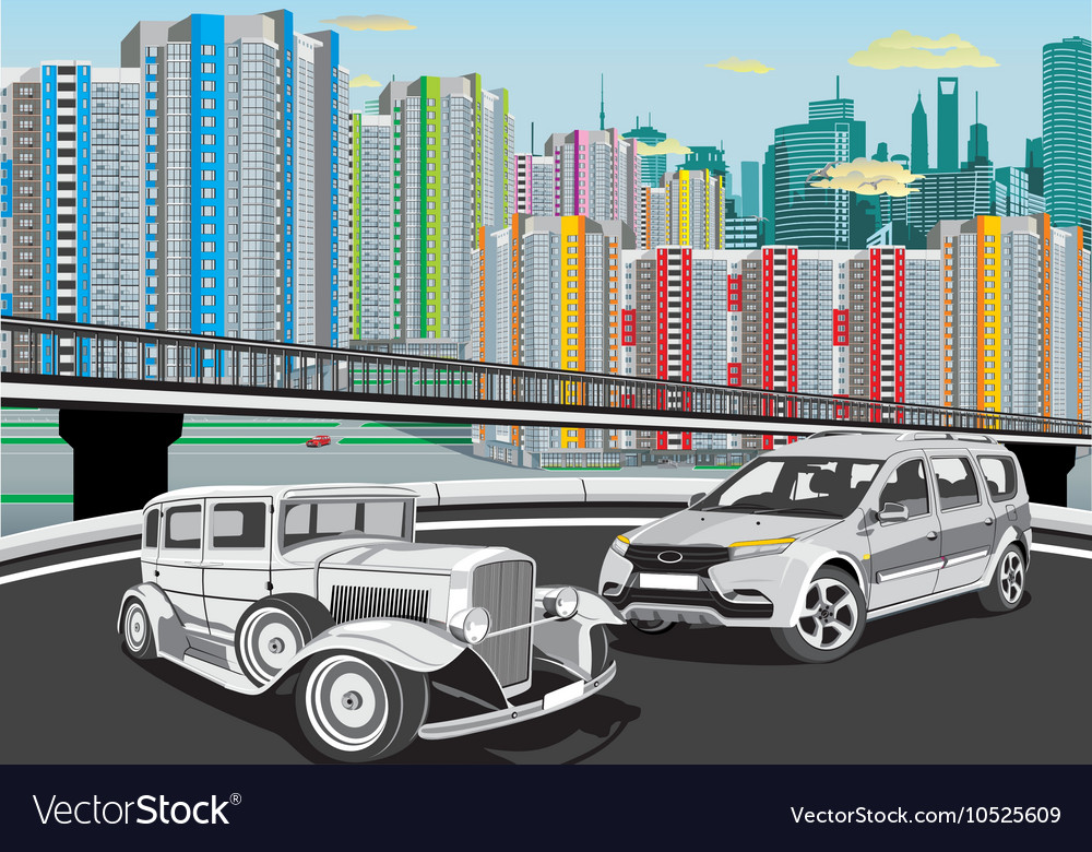 Urban landscape - cars on the background of the