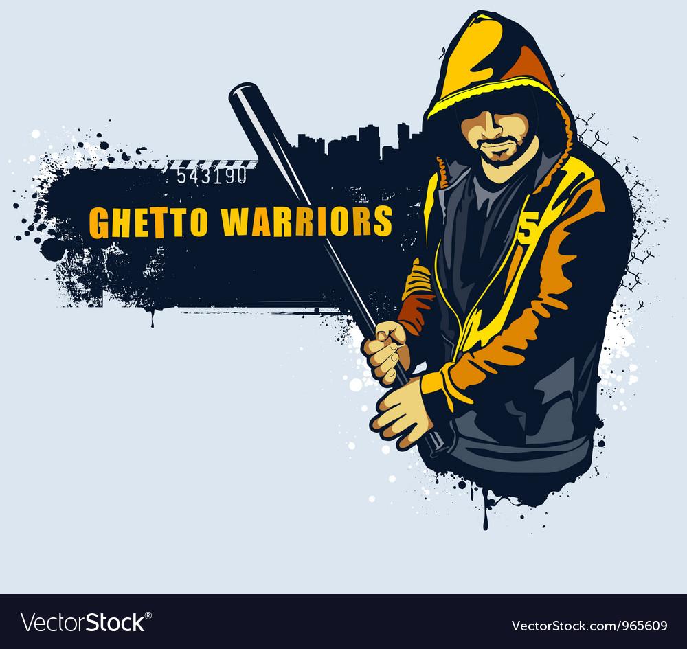 Young gangster with basebal bat vector image