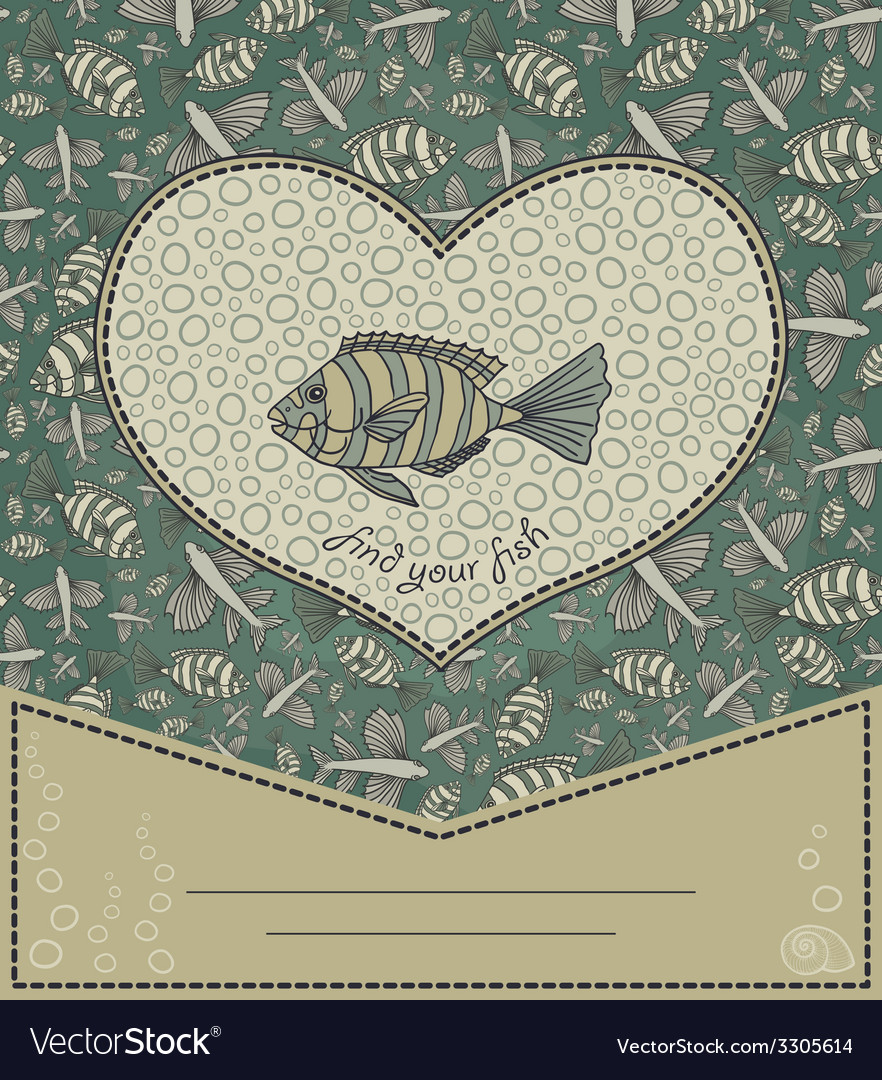 Abstract template for greeting card with fishes