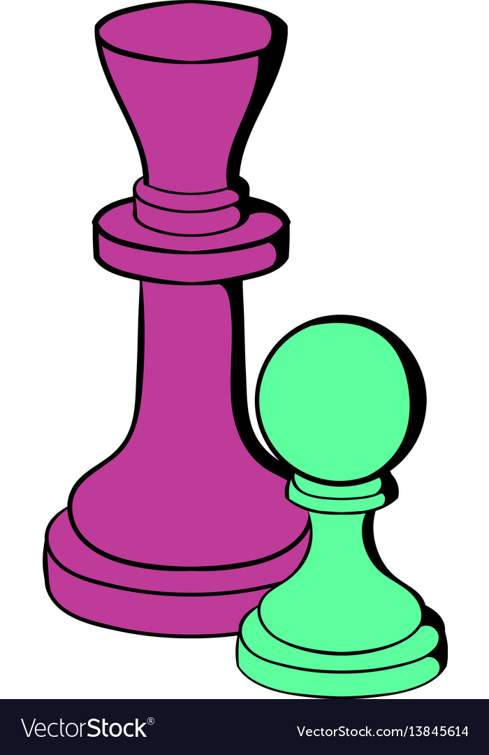 Chess king and chess pawn icon cartoon