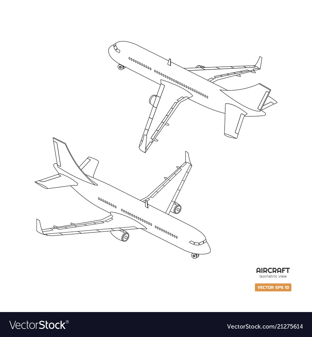 Civil isometric aircraft in outline style