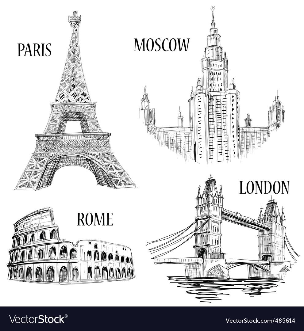 European cities symbols sketch