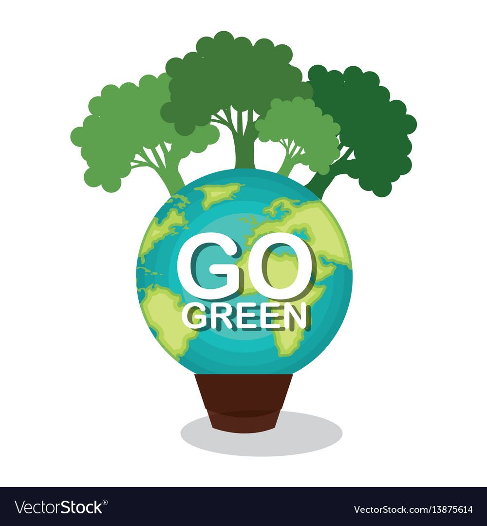 Go Green Planet Earth Royalty Free Vector Image