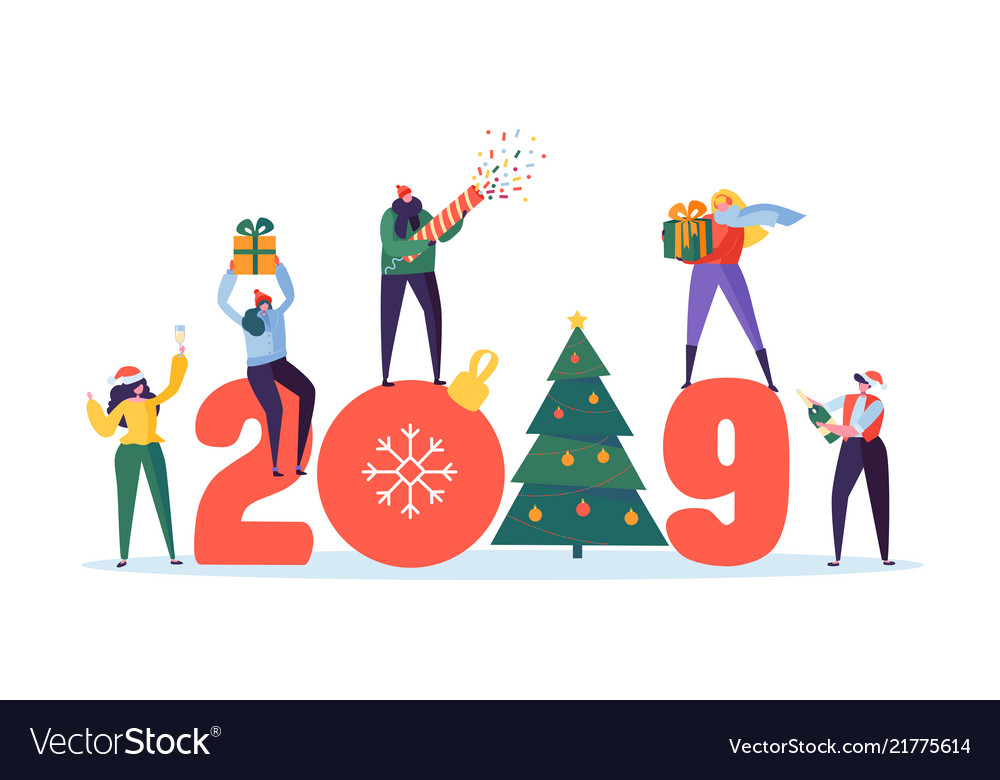 Happy new year 2019 greeting card flat people