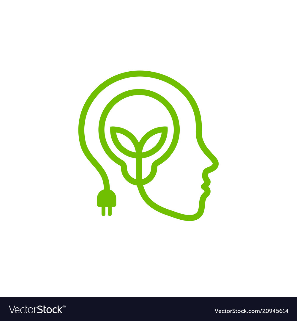 Head with lamp and leaves green linear logo vector image