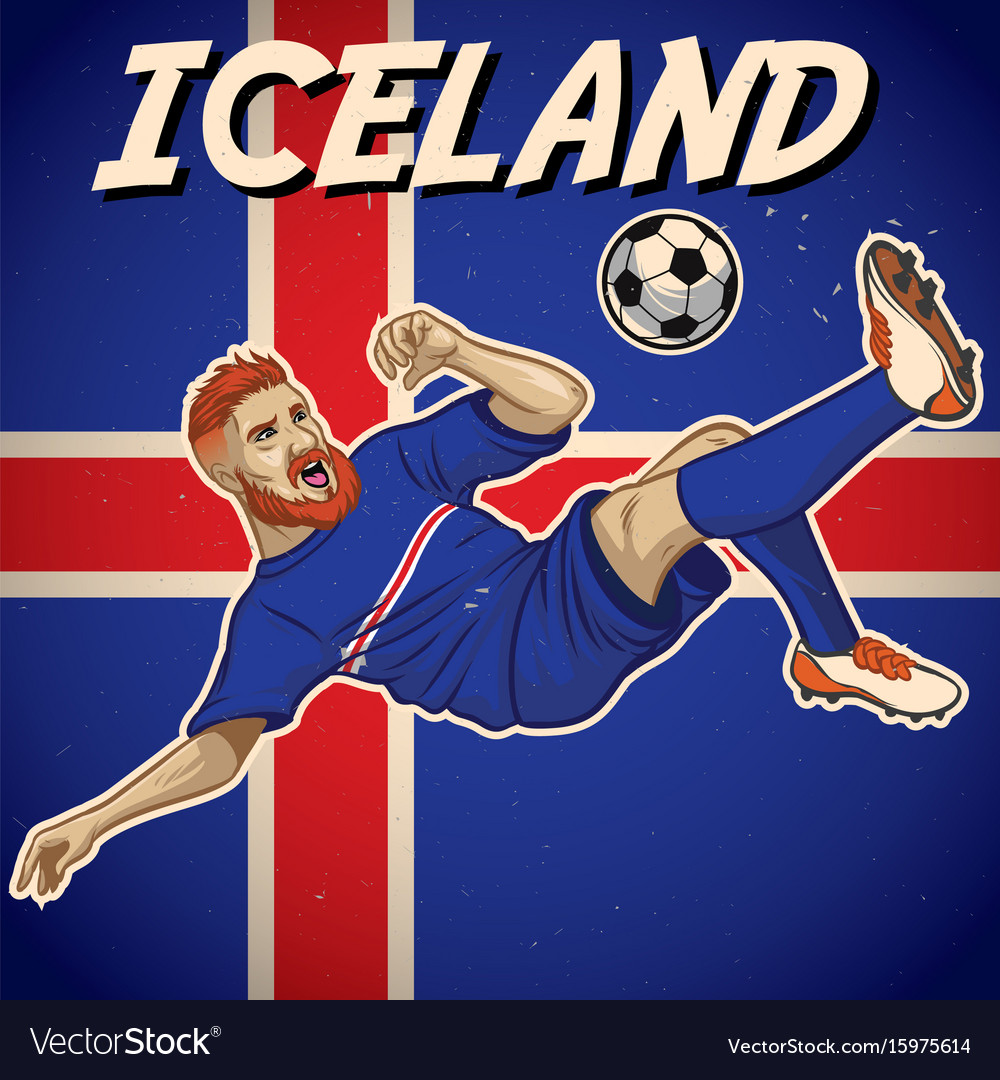 Iceland soccer player with flag background