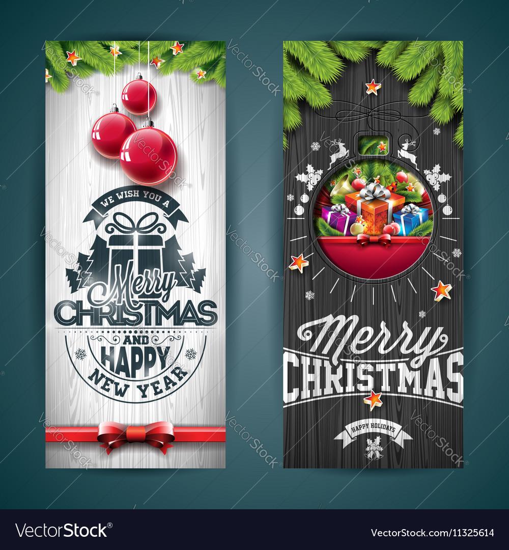 Merry christmas greeting card pine tree branch