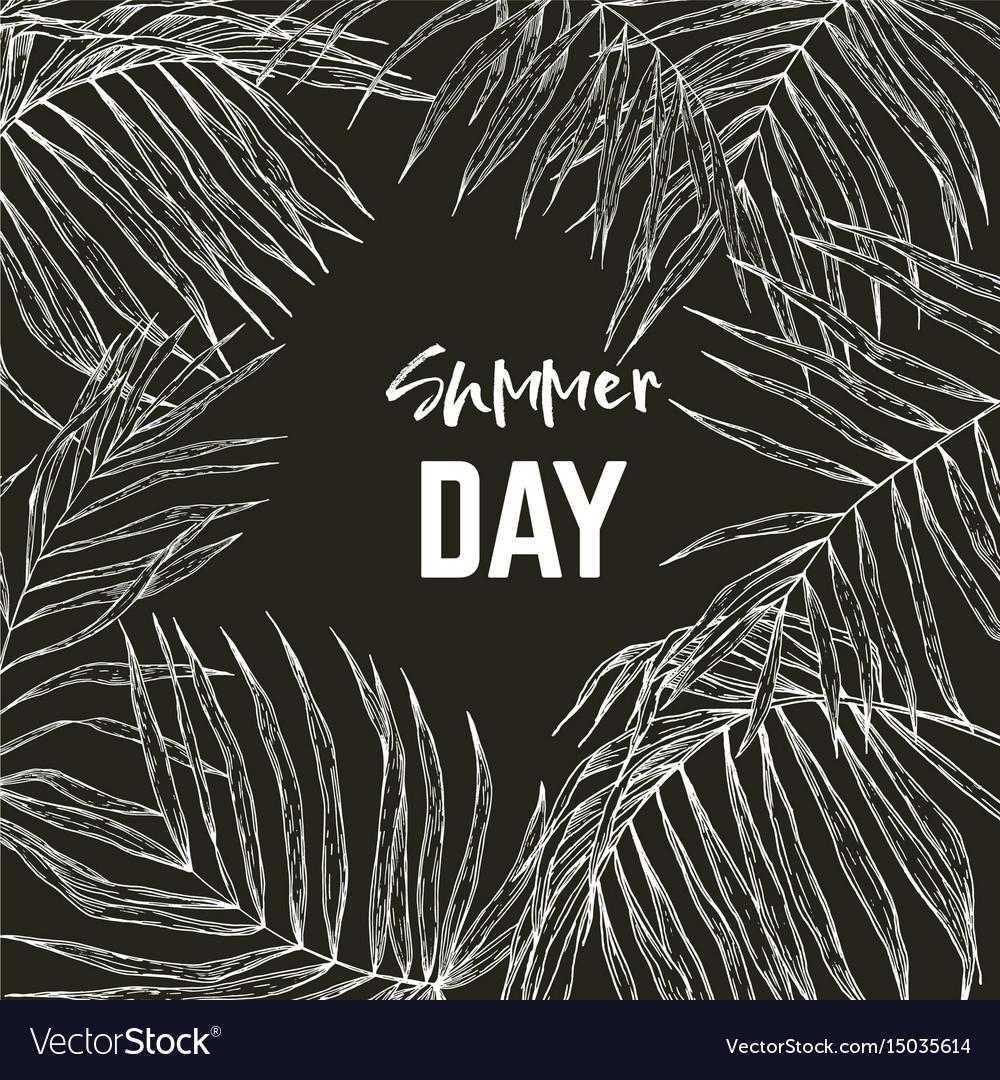 Palm leaves frame black background