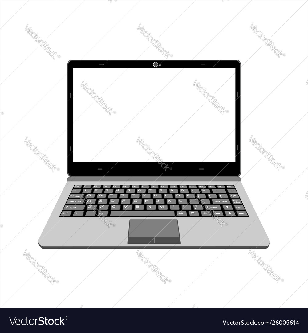 Realistic laptop in gray color