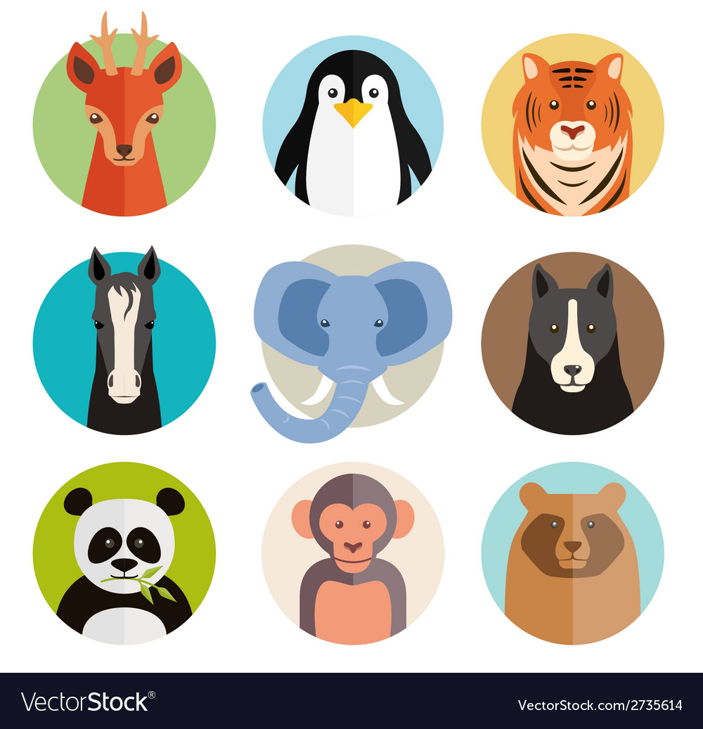 Set of animal icons in round buttons