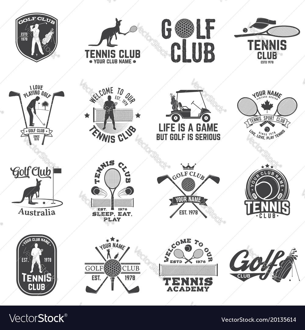 Set of golf club tennis club concept