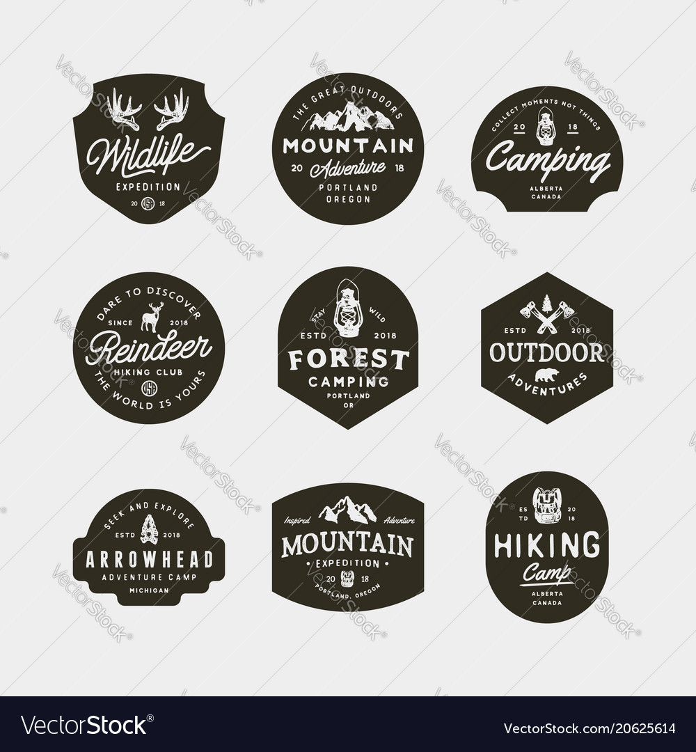 Set of vintage wilderness logos hand drawn retro