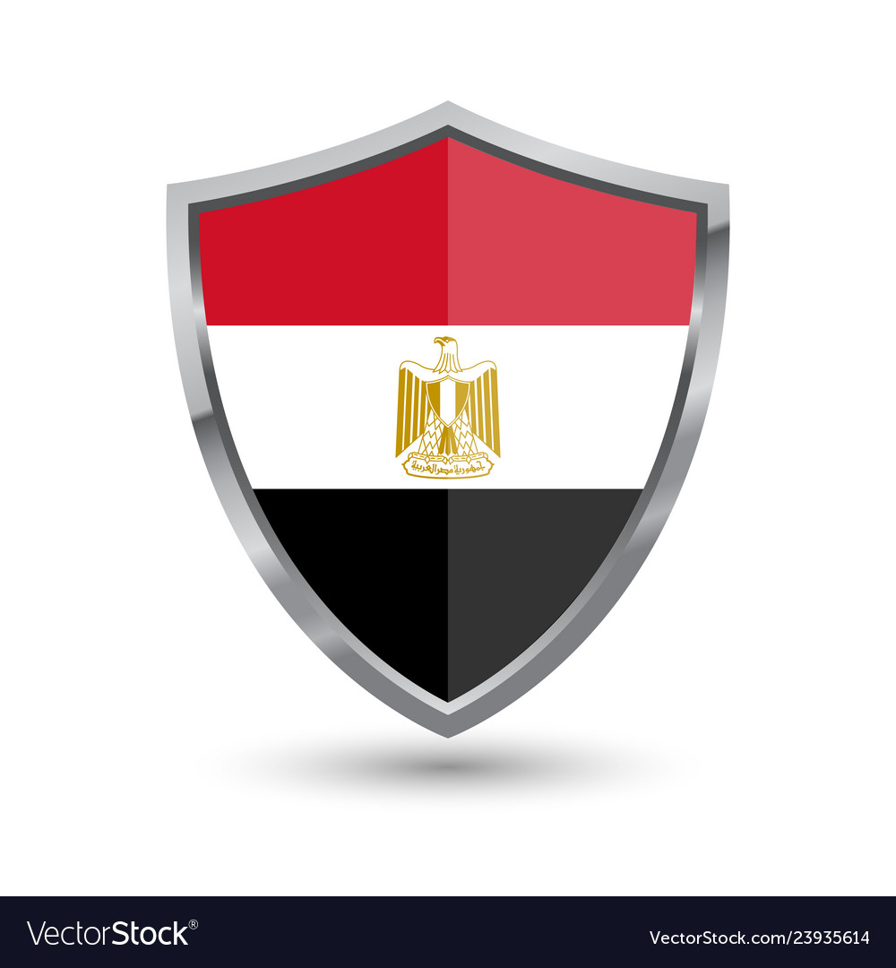 Shield with flag of egypt isolated