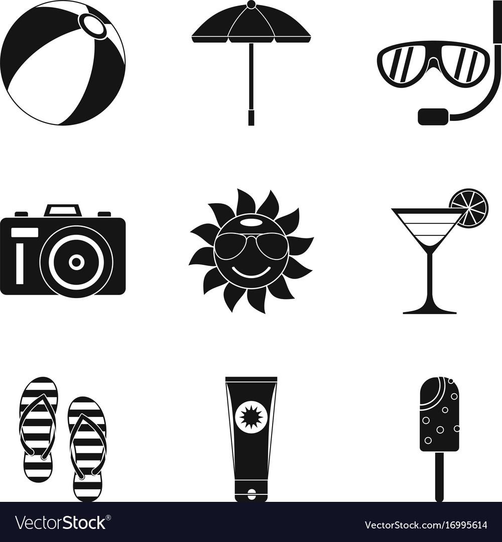 Sunburn icons set simple style