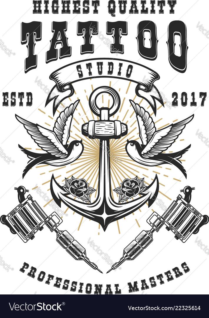 Tattoo studio poster template crossed tattoo