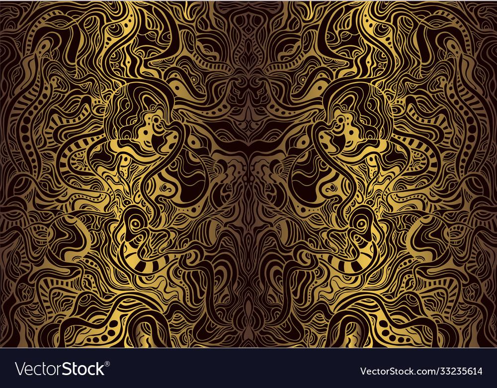 Vintage bohemian ornamental background golden