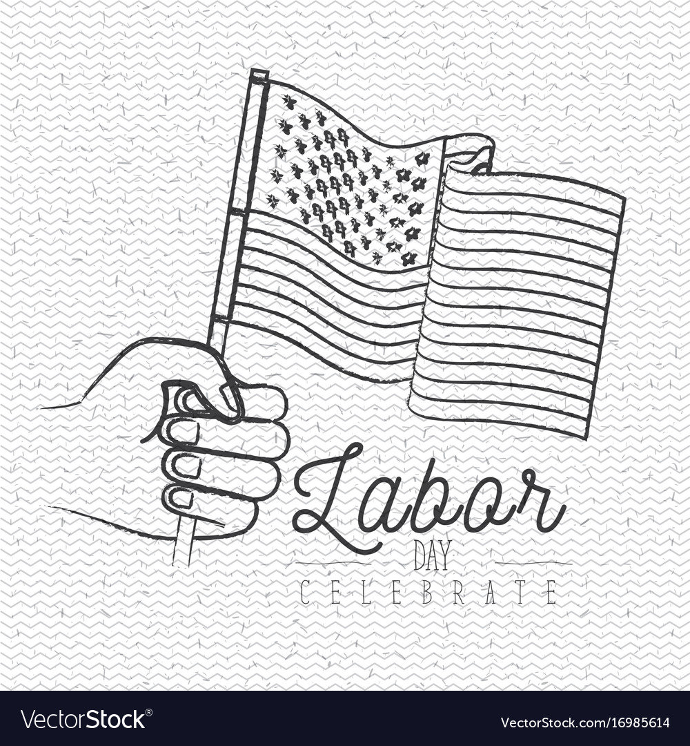 White background with zigzag lines of labor day