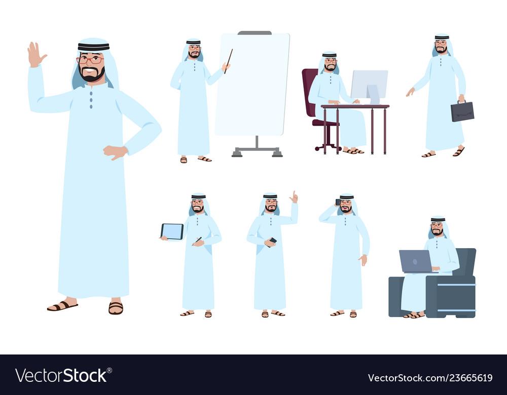 Arab businessman saudi business people character