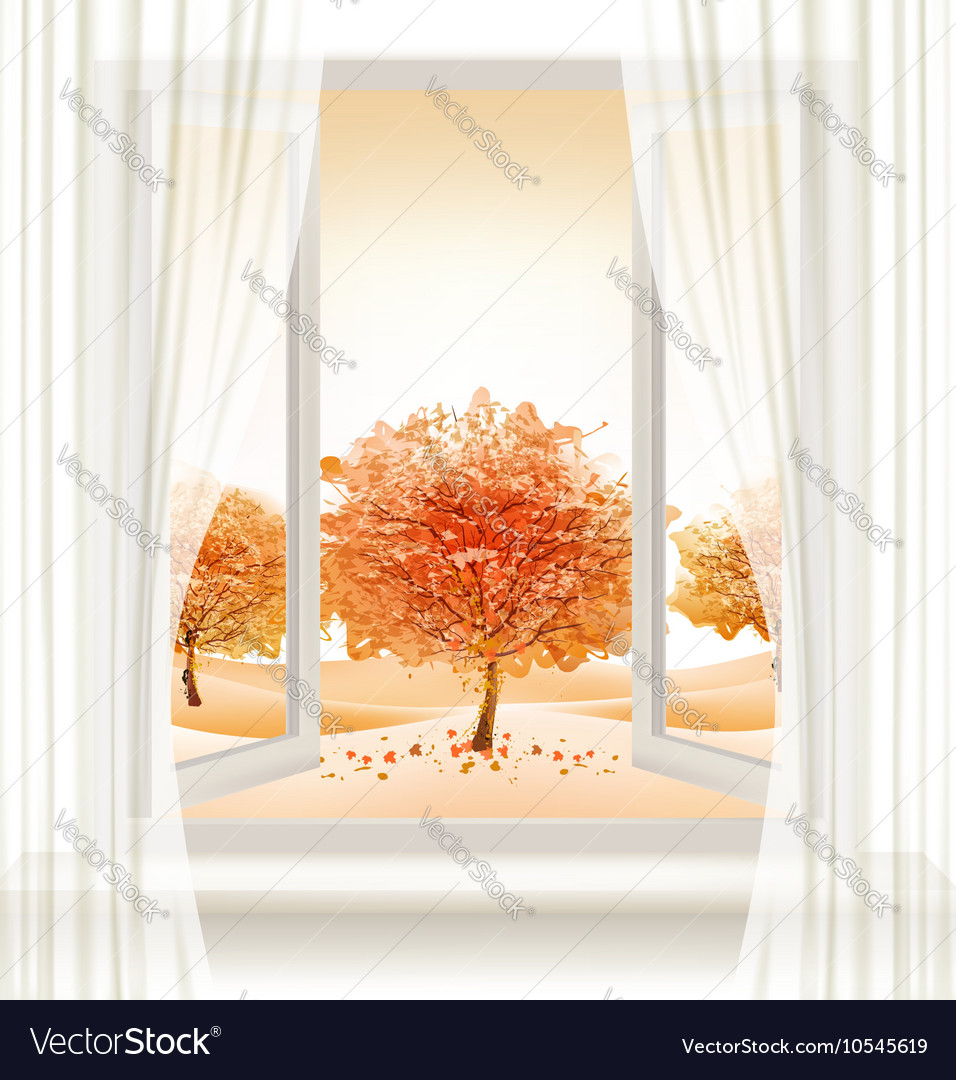 Autumn background with an open window and colorful