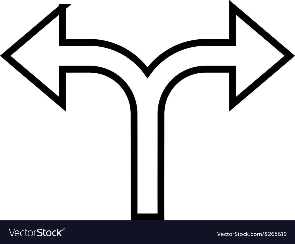 Bifurcation Arrow Left Right Stroke Icon