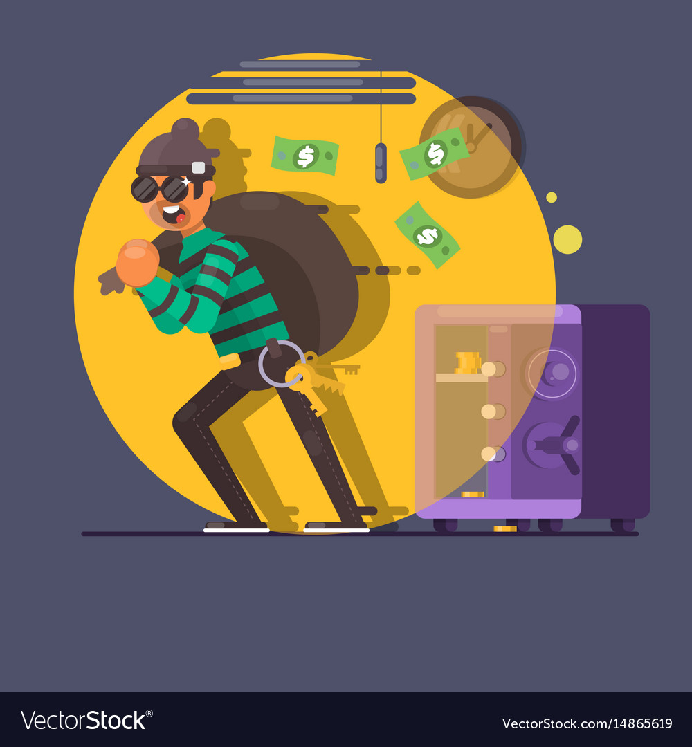 Burglar thief in mask on the big opened safe full