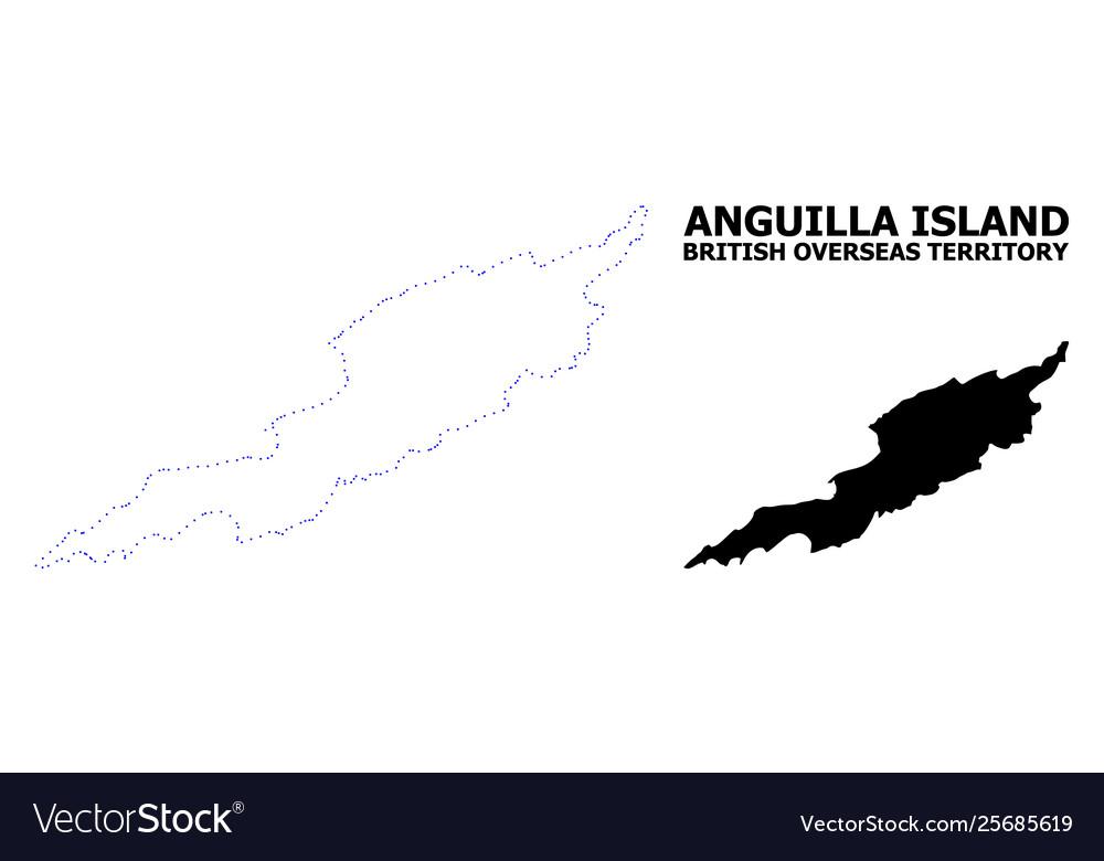 Contour Dotted Map Anguilla Island - BerkshireRegion