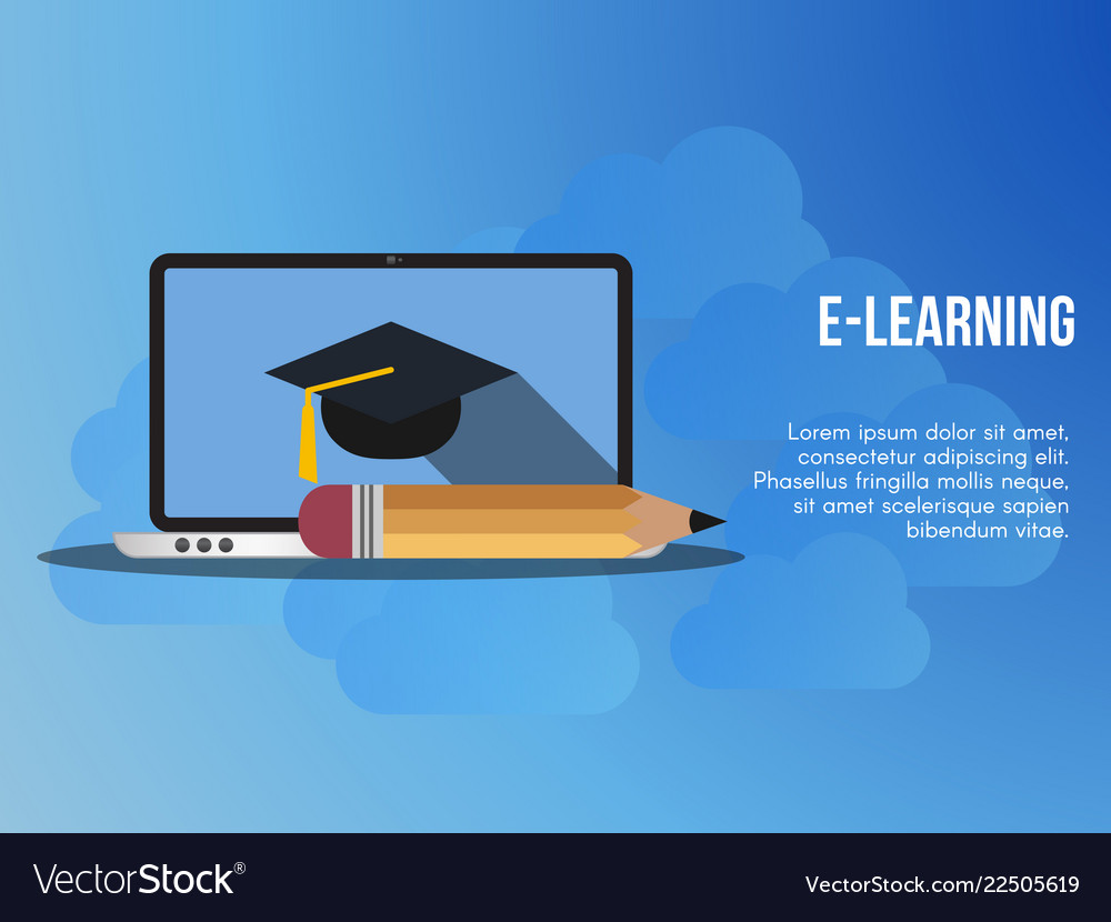 E Learning Concept Design Template Royalty Free Vector Image