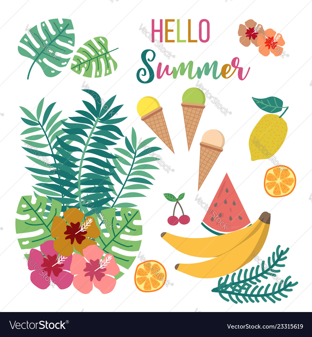 Floral summer card with tropical leaves and