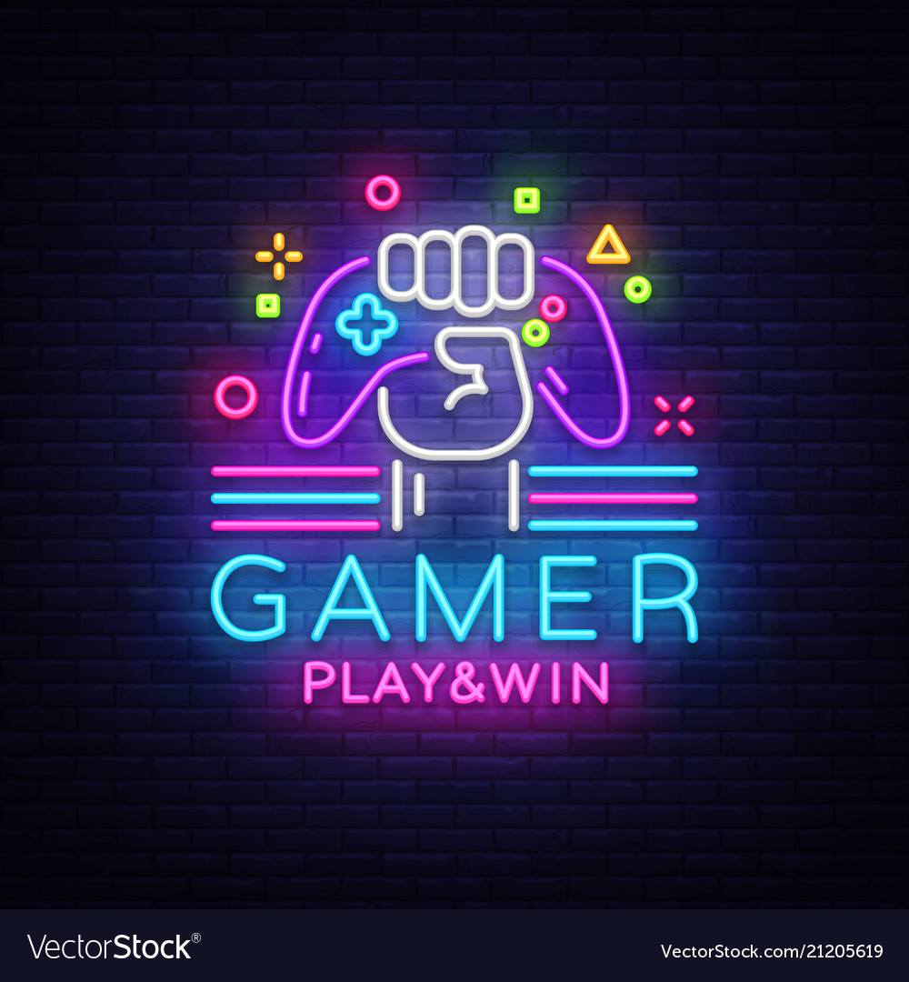 Gamer play win logo neon sign logo design
