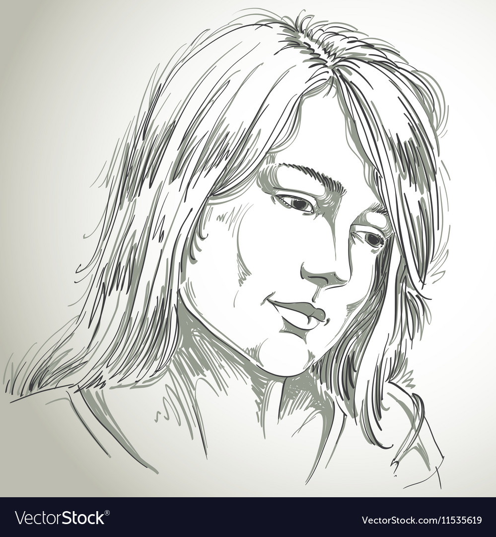 Hand-drawn portrait of white-skin sorrowful woman vector image