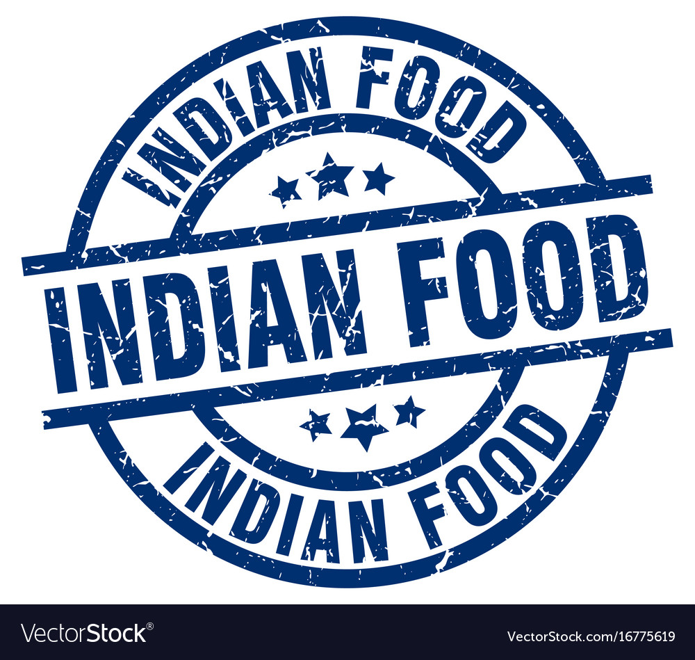 Indian food blue round grunge stamp vector image on VectorStock