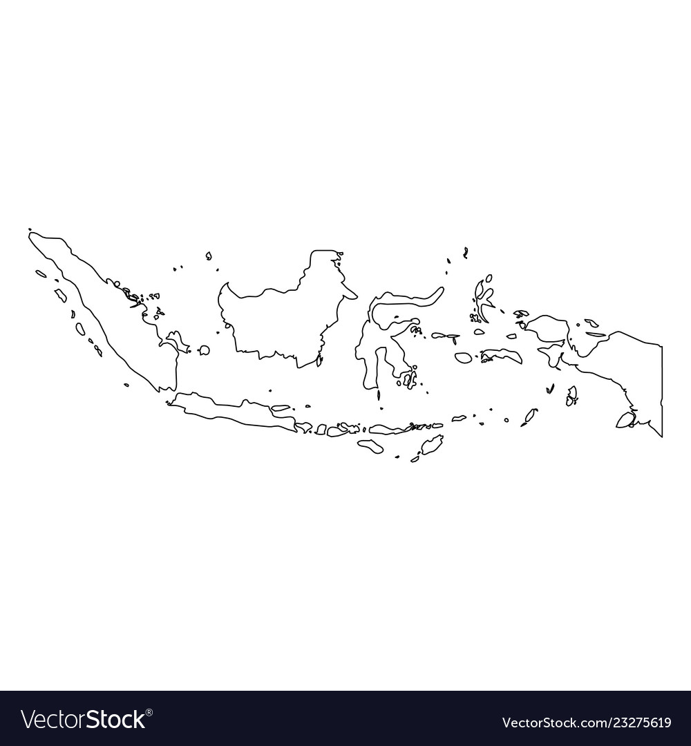 Indonesia Solid Black Outline Border Map Of Vector Image