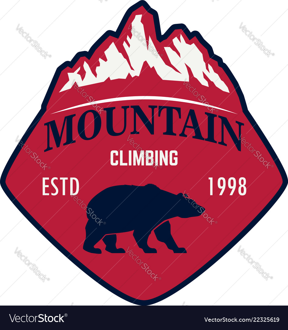 Mountain climbing emblem template with rock peak