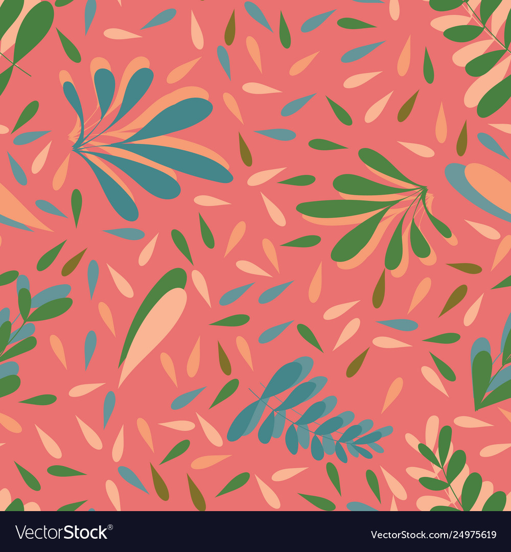 Pink leaves seamless background pattern