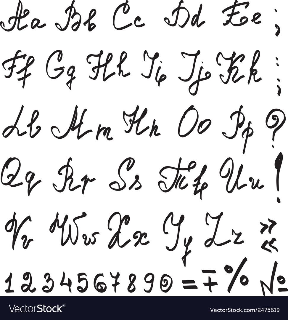 Real hand calligraphic Alphabet