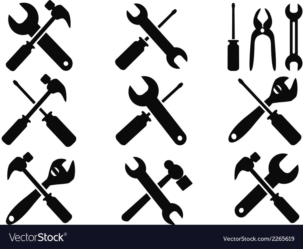 Repair tool icons set