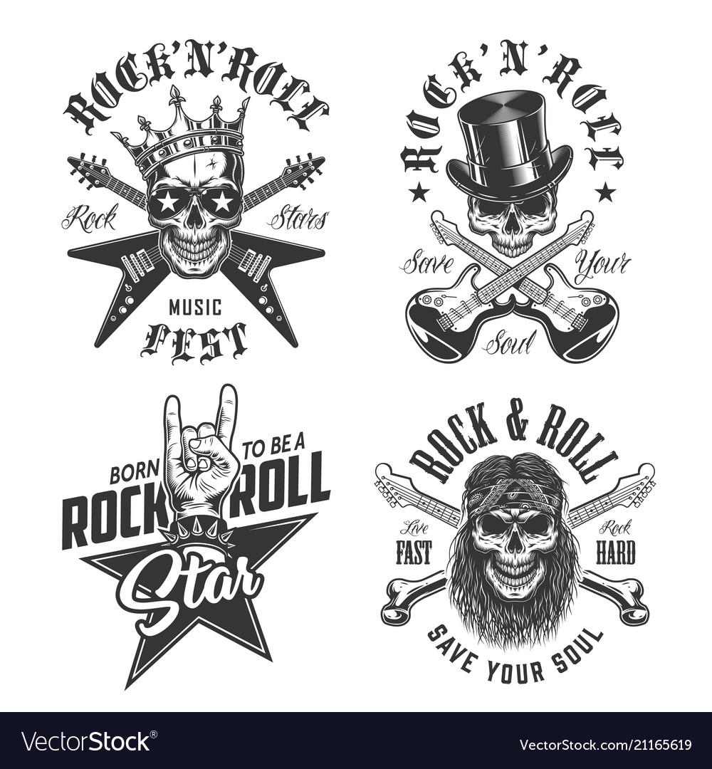 Set rock and roll emblems