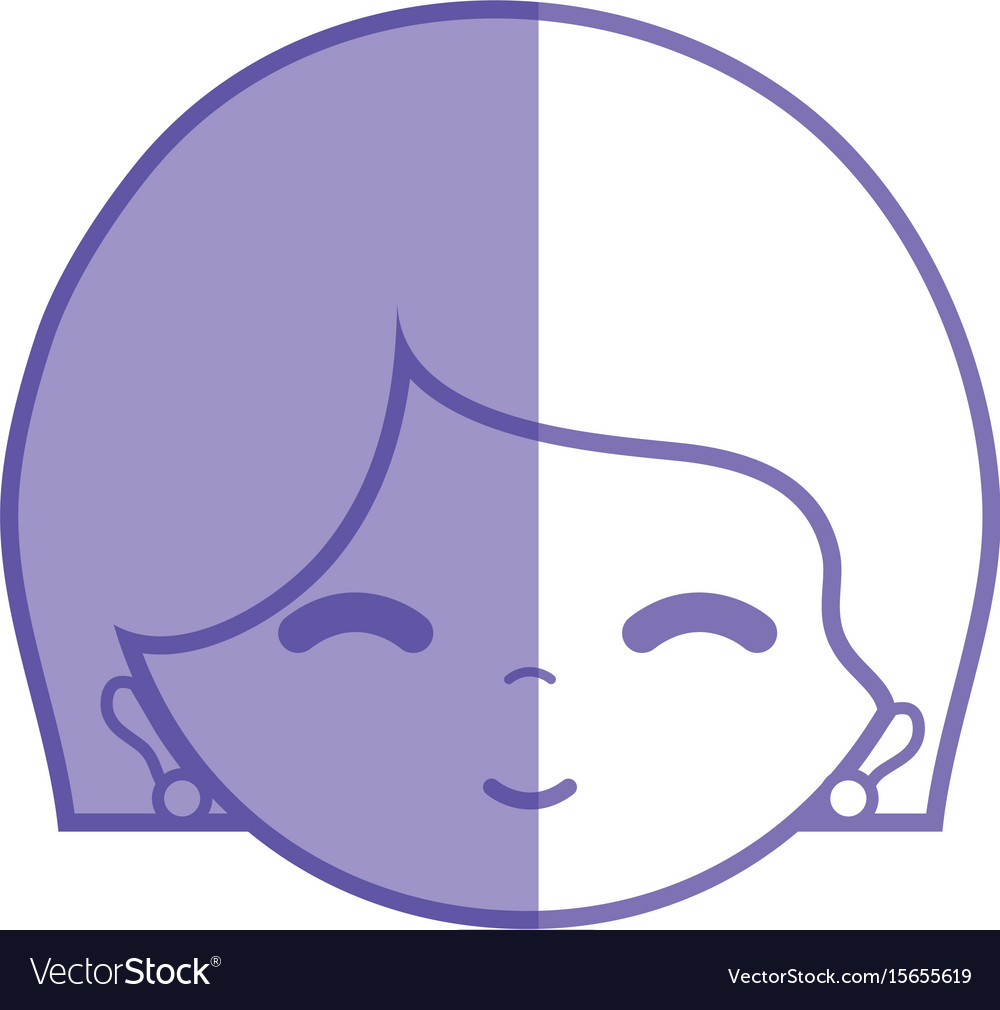 Silhouette woman face with expression and vector image