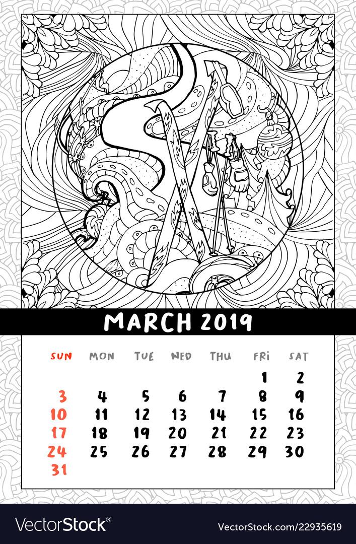 Skiing at christmas calendar calendar march 2019