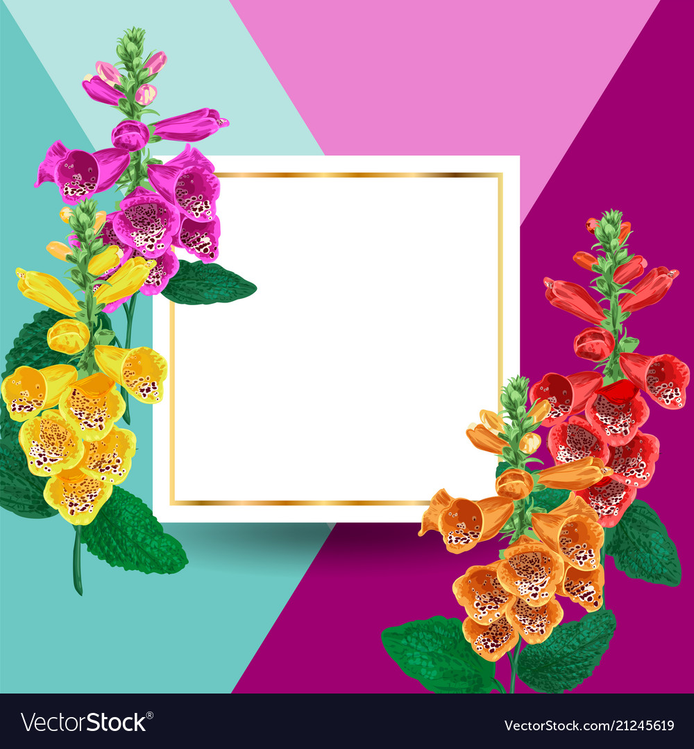 Spring and summer golden floral frame with flowers
