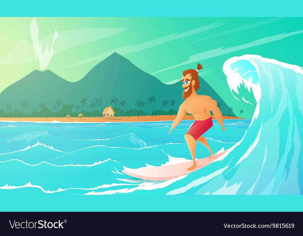 Surfer ride on surfboard