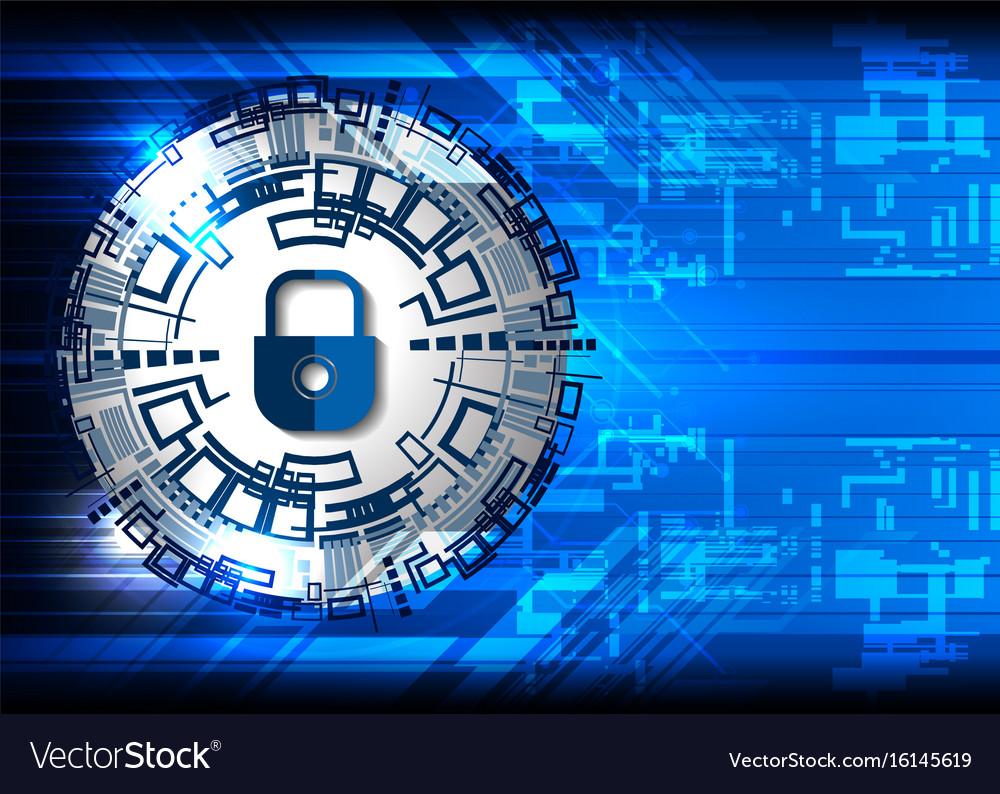Tech Digital Safety Padlock Royalty Free Vector Image