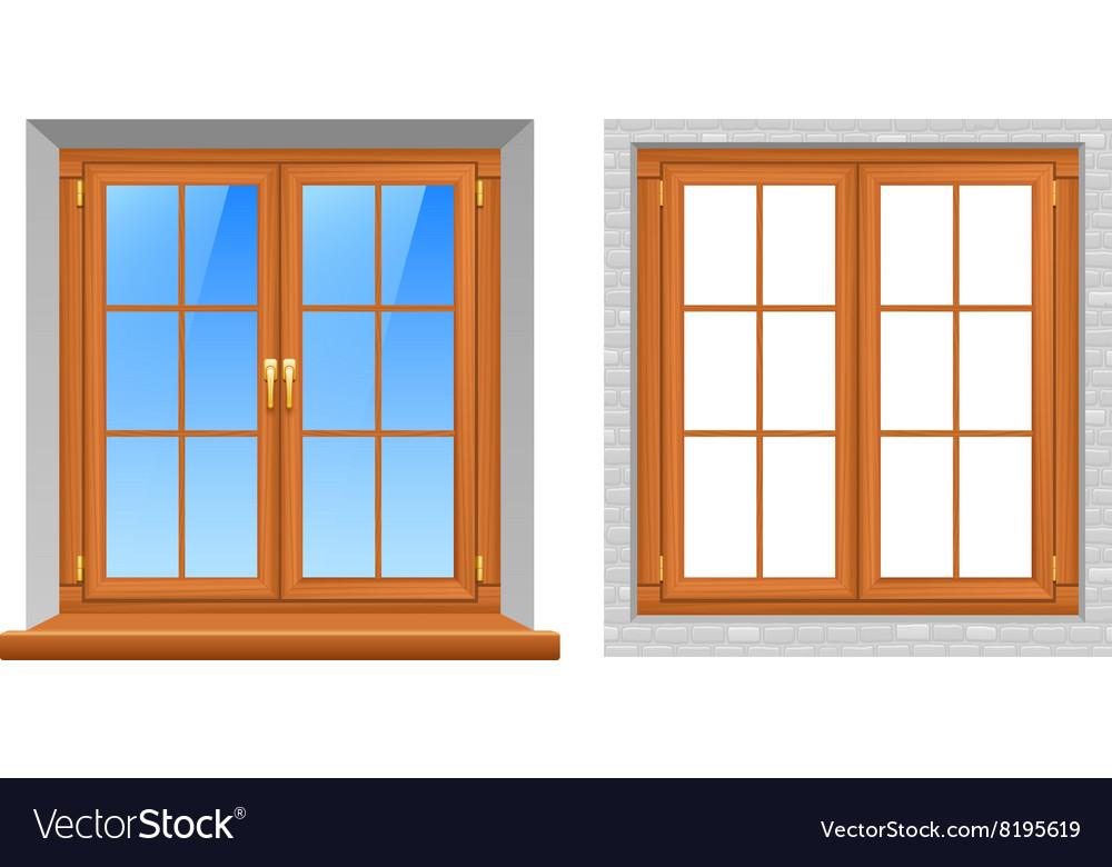 Wooden Windows Indoor Outdoor Realistic Icons