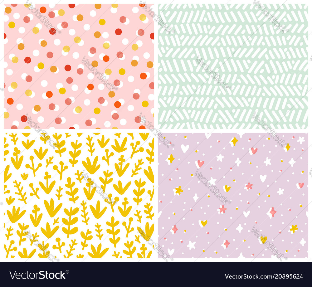 Abstract set 4 seamless patterns