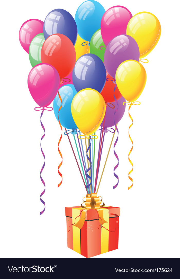 Balloons with gift box vector image