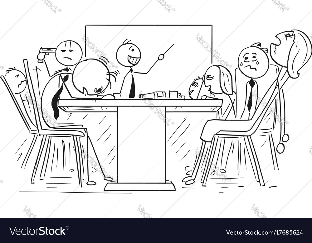 cartoon of group of mad business people on meeting